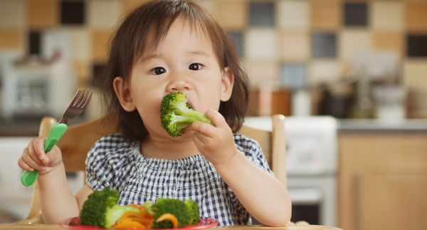 Image of toddler eating broccoli and vegetables