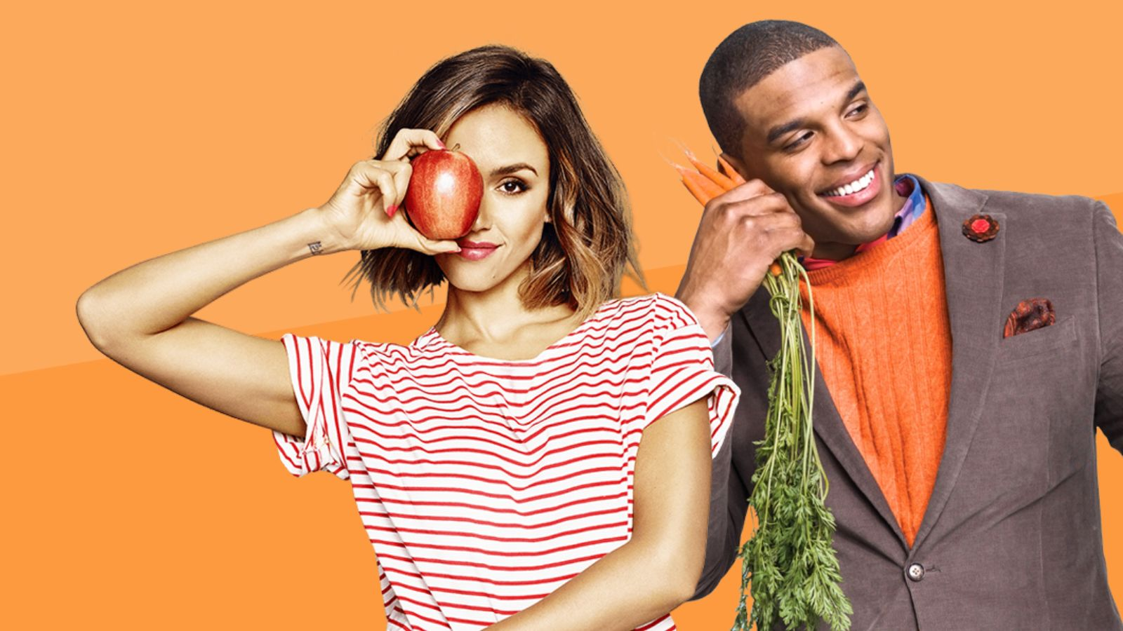 Jessica Alba and Cam Newton pose with vegetables