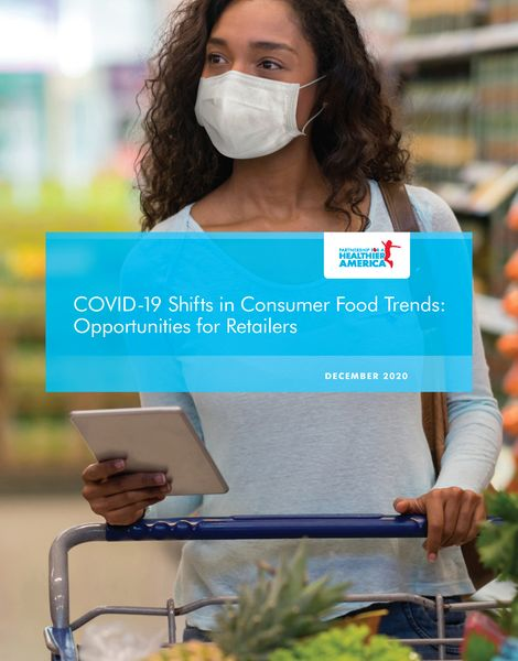 Cover of white paper for shifting retail environments, featuring a woman shopping for fruits and vegetables in grocery store while wearing surgical mask.