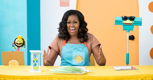 Michelle Obama at her grocery store in Waffles + Mochi