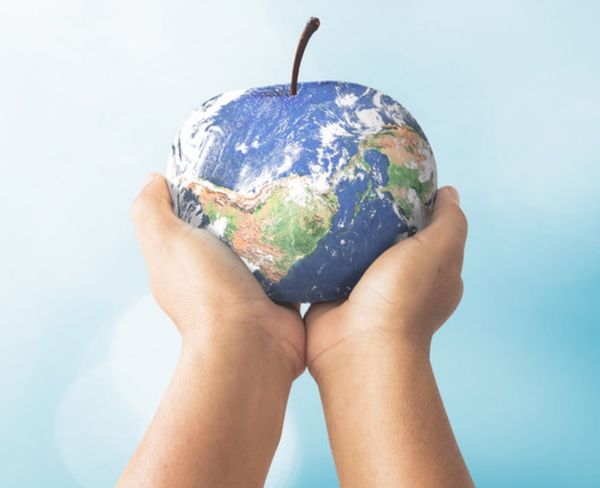 Child holding the globe shaped as an apple