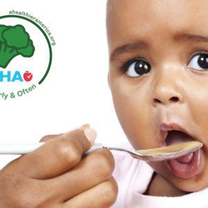 Child eating veggie-forward baby food