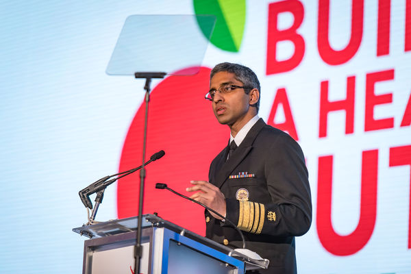 United States Surgeon General Vice Admiral (VADM) Vivek H. Murthy, MD, MBA pictured speaking at Partnership for a Healthier America's 2016 Building a Healthier Future Summit.