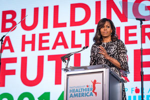 Photo of former First Lady and PHA Honorary Chair Michelle Obama speaking at Partnership for a Healthier America's 2016 Building a Healthier Future Summit.