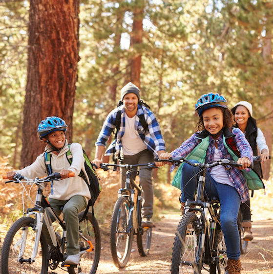 Image of a family biking for Partnership for a Healthier America's Move to Improve Challenge.