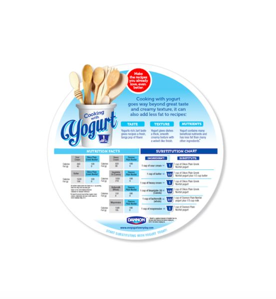 Image from The Dannon Company on ways yogurt can be used in cooking, including which other ingredients it can serve as a substitution for.