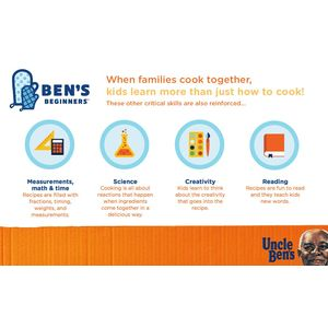 Uncle Ben's Ben's Beginners program infographic on what skills kids learn when they cook.