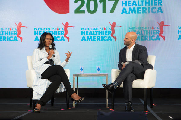 Former First Lady Michelle Obama, PHA Honorary Chair, and Sam Kass, Founder, TROVE, at Partnership for a Healthier America's 2017 Building a Healthier Future Summit.