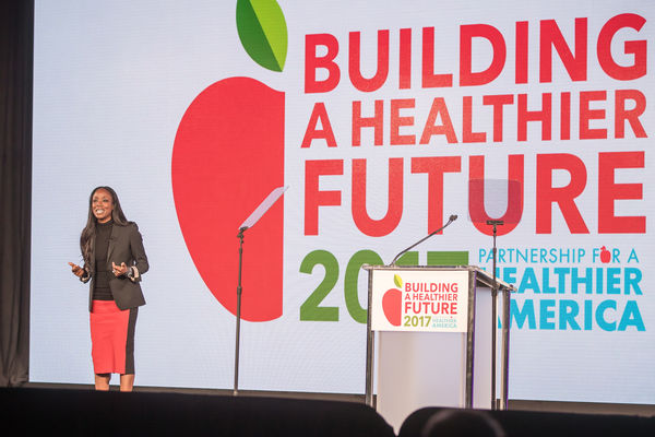Dr. Nadine Burke Harris, Founder & CEO of the Center for Youth Wellness (CYW), delivers a plenary session presentation at Partnership for a Healthier America's 2017 Building a Healthier Future Summit.