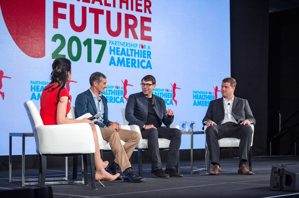 Entrepreneur Perspective: The Future of Food panel with Neil Grimmer, Founder and CEO, the Habit; Dr. James Rogers, Founder, Apeel Sciences; Seth Goldman, Executive Chairman, Beyond Meat; and, Linda Henry, Managing Director, The Boston Globe and Co-Founder, HUBweek at Partnership for a Healthier America's 2017 Building a Healthier Future Summit.