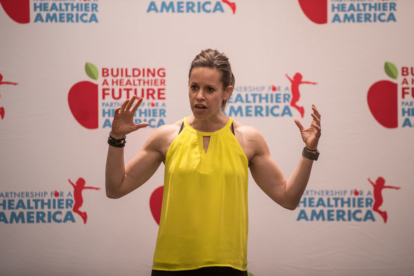 Jenna Wolfe, TV Fitness Correspondent & Expert, leads 2017 PHA Summit attendees in a fitness routine to demonstrate how to create  healthier, more productive work and living environments.