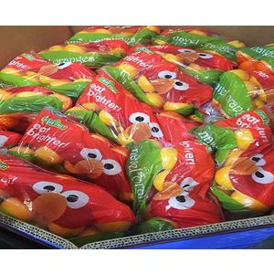 Image of Elmo-branded produce for the eat brighter! Initiative.