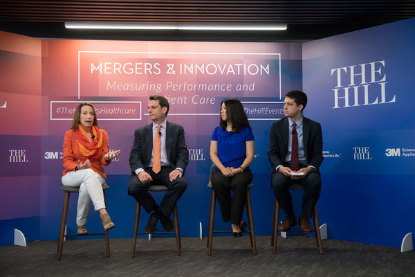 From left: Nancy Roman, President and CEO of Partnership for a Healthier America, speaking on the 'Healthcare Redefined' panel at the Hill's Mergers and Innovation: Measuring Performance and Patient Care event on June 26, 2018. Also pictured: Emily Gee, Healthcare Economist at Center for American Progress; Cory Capps, Partner, Bates White Economic Consulting; and, Peter Sullivan, Staff Writer at the Hill (Moderator).