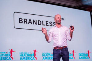 Image of Ido Leffler, Brandless Co-Founder and Chairman, on the main plenary stage at Partnership for a Healthier America's 2018 Innovating a Healthier Future Summit.