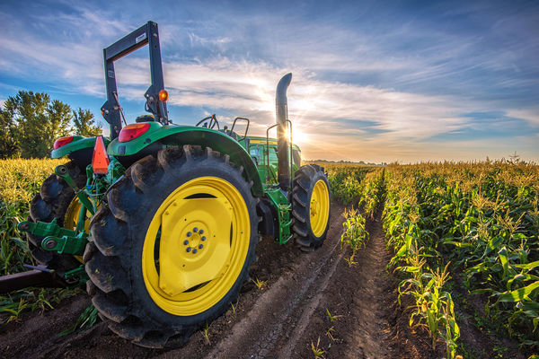 commercial tractor in field